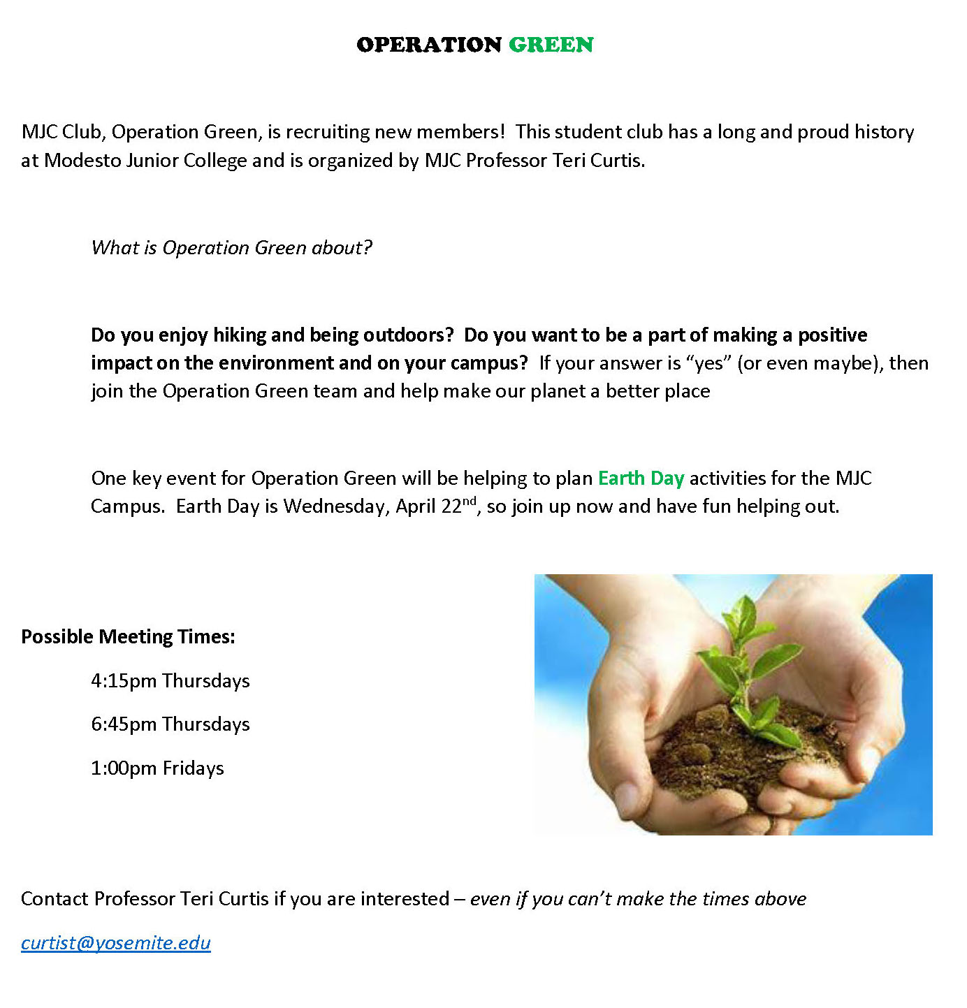 Operation Green Sign up